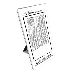 Hartford Courant Keepsake Obituary Plaque