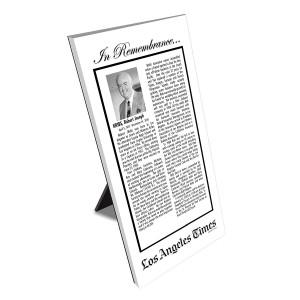 Los Angeles Times Keepsake Obituary Plaque