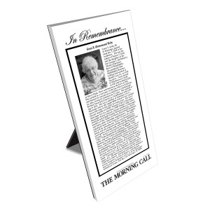 Morning Call Keepsake Obituary Plaque