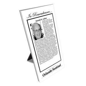 Orlando Sentinel Keepsake Obituary Plaque