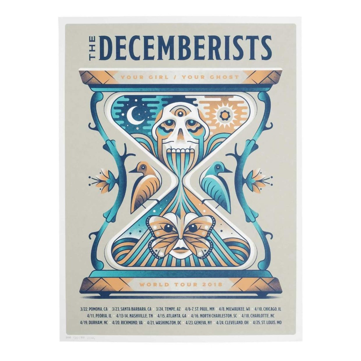 "The Decemberists 'Your Girl/Your Ghost' 2018 Tour Poster - 18"" x 24"""