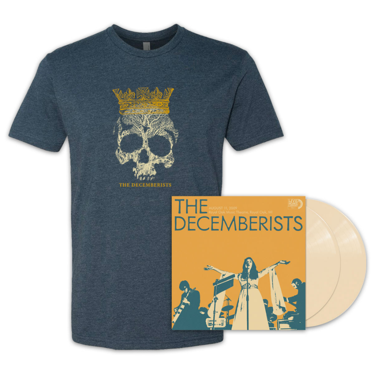 The Decemberists - Live Home Library vol. I - Bone Colored Vinyl/T-shirt Bundle (webstore exclusive)