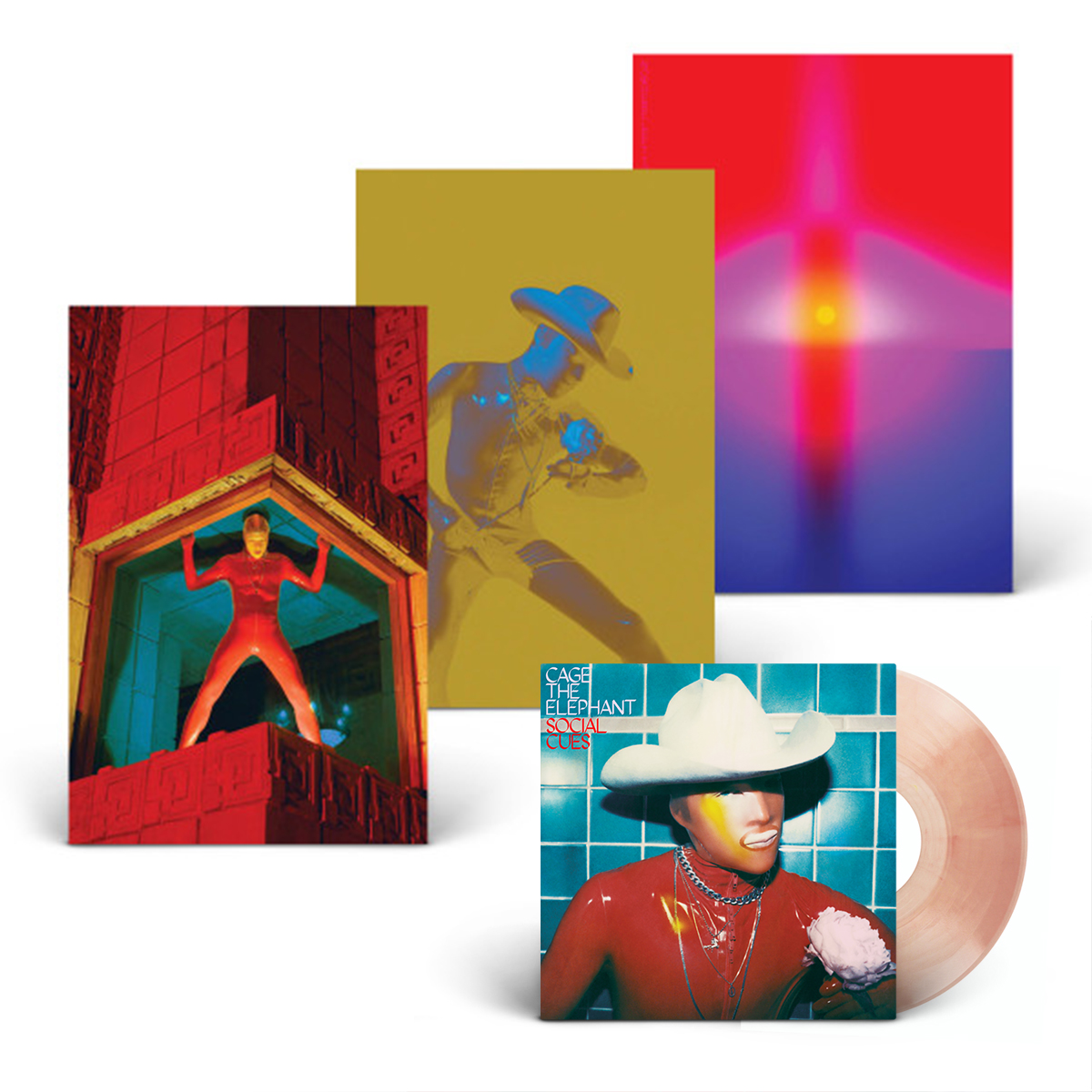 Social Cues AUTOGRAPHED Deluxe Translucent Pink Vinyl + 3-Poster Set