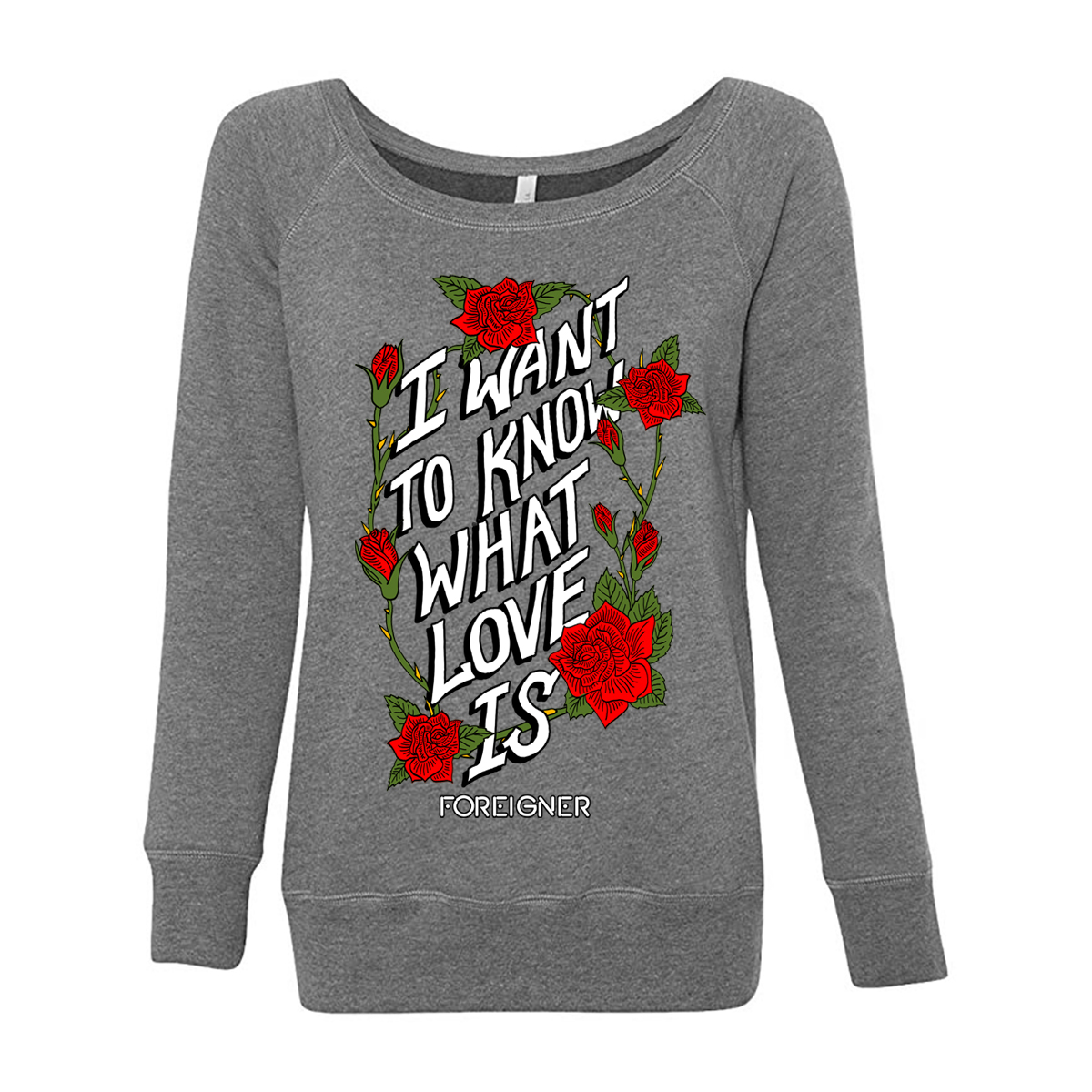 Foreigner - Ladies I Want To Know What Love Is Grey Long Sleeve Off Shoulder T-shirt