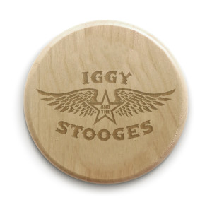 """Iggy and the Stooges 4"""" Circle Wood Coaster"""