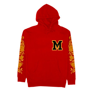 M Patch Hoodie with Embroidered Scrolls on Sleeves