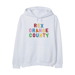 Rex Orange County Embroidered Magnet Hoodie - White