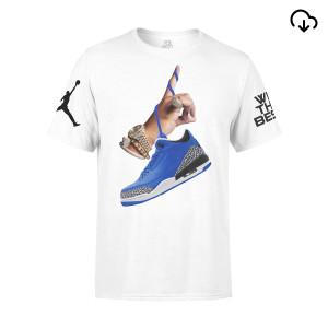 DJ Khaled x Jordan Leather Sneakers T-shirt - White + Father of Asahd Album Download