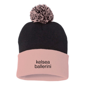 Black and Pink Colorblock Beanie