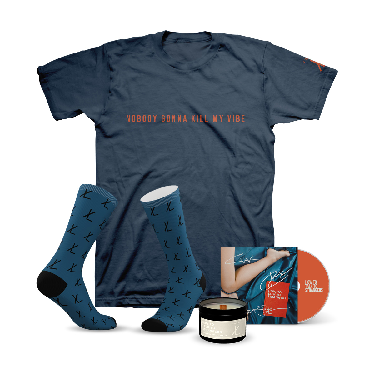 How To Talk To Strangers EP CD + Willowick Candle Company x Twin XL Candle + Tribe Socks x Twin XL Socks + Nobody Gonna Kill My Vibe Navy Blue T-Shirt Bundle
