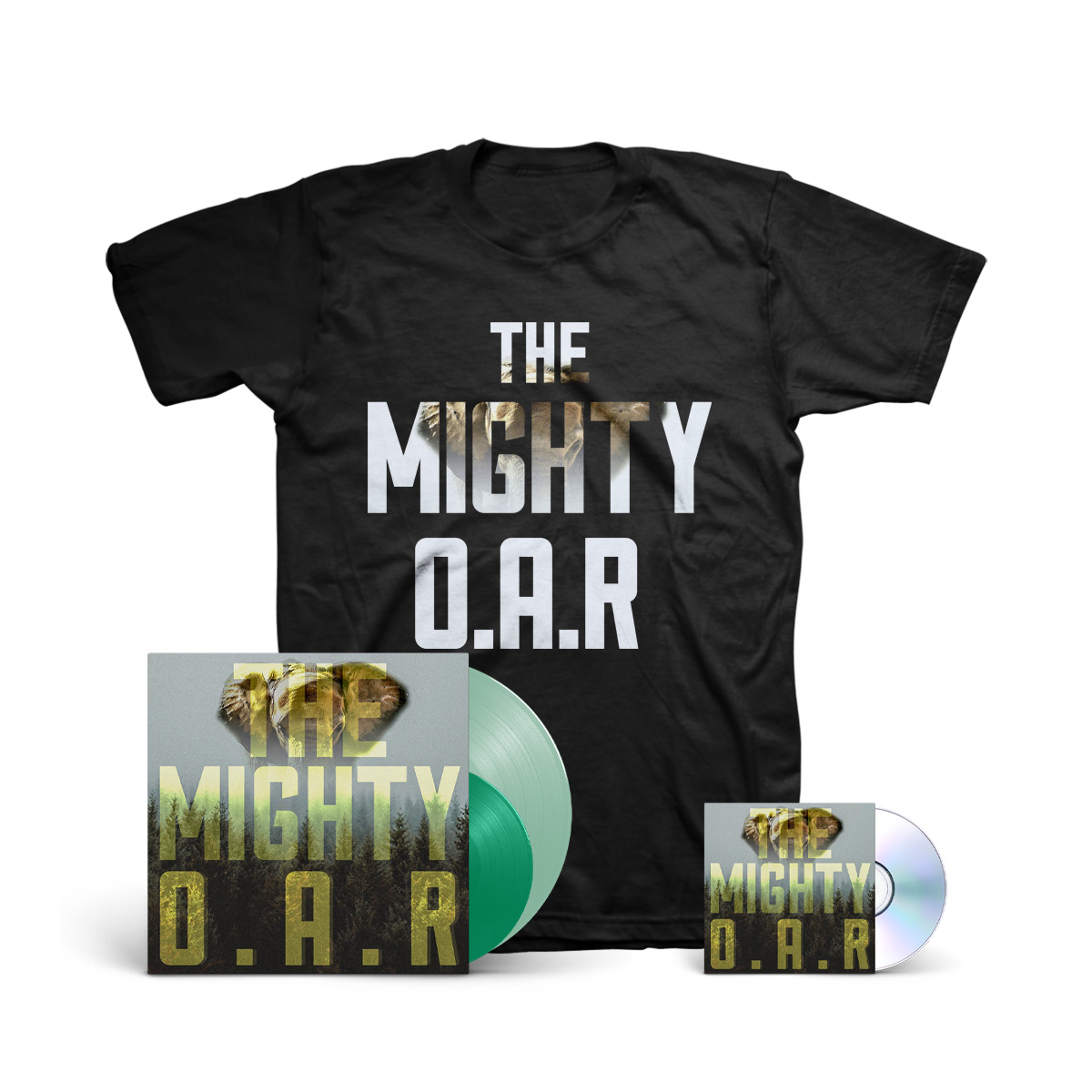 """O.A.R. - The Mighty 180g Coke Bottle Green LP + Clear Green 7"""" + CD + T-Shirt"""