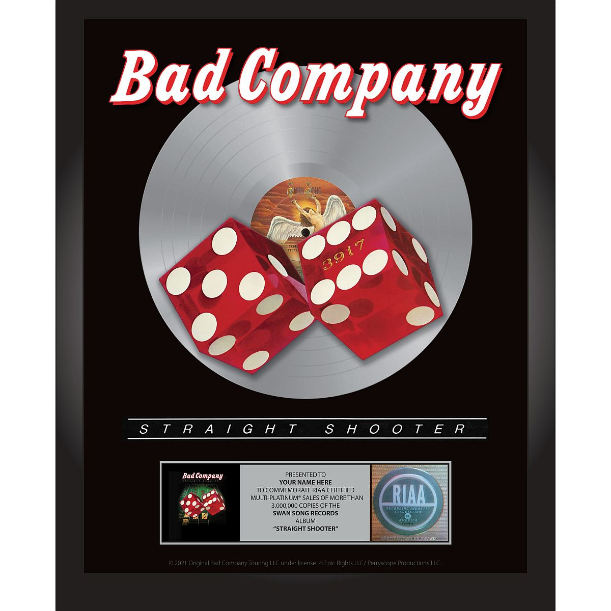 Bad Company Straight Shooter Personalized Award Plaque