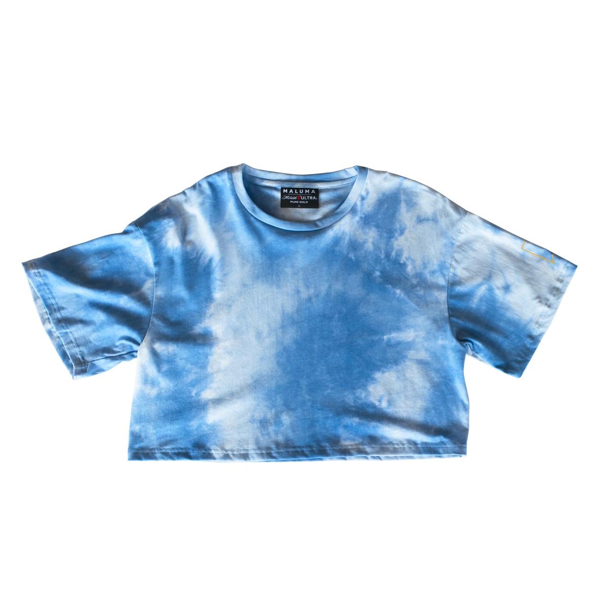 Camiseta Corta Teñida en Azul Cielo