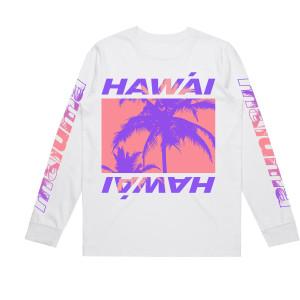 Camiseta de Manga Larga Hawái Blanca
