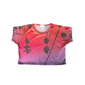 Camiseta Corta Premium Rosa Palmera