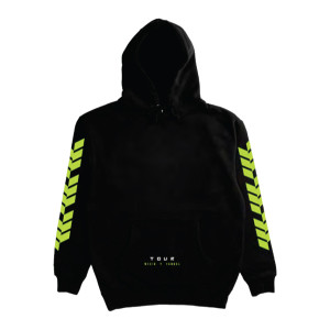 WISIN Y YANDEL YELLOW TEXT BLACK TOUR PULLOVER HOOD