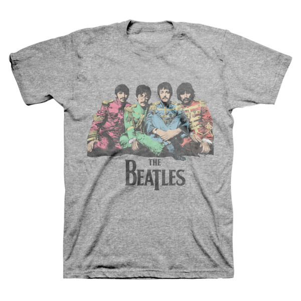 The Beatles Logo Sgt Peppers Lonely Hearts Club Band Drum Black Mens T-shirt