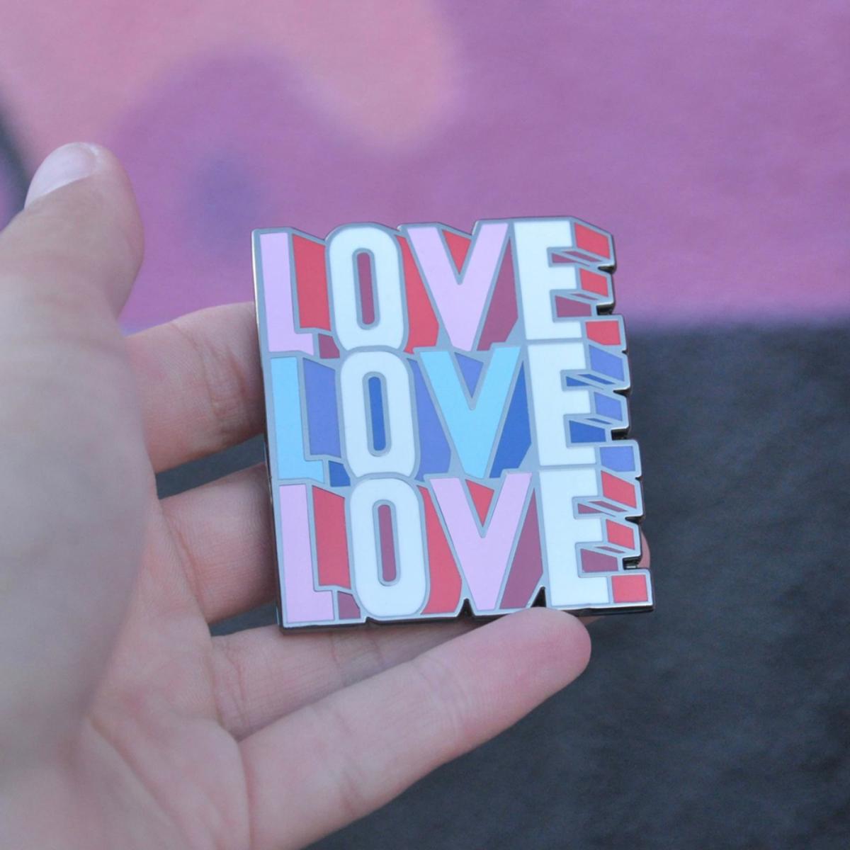 Love Love Love Enamel Magnet