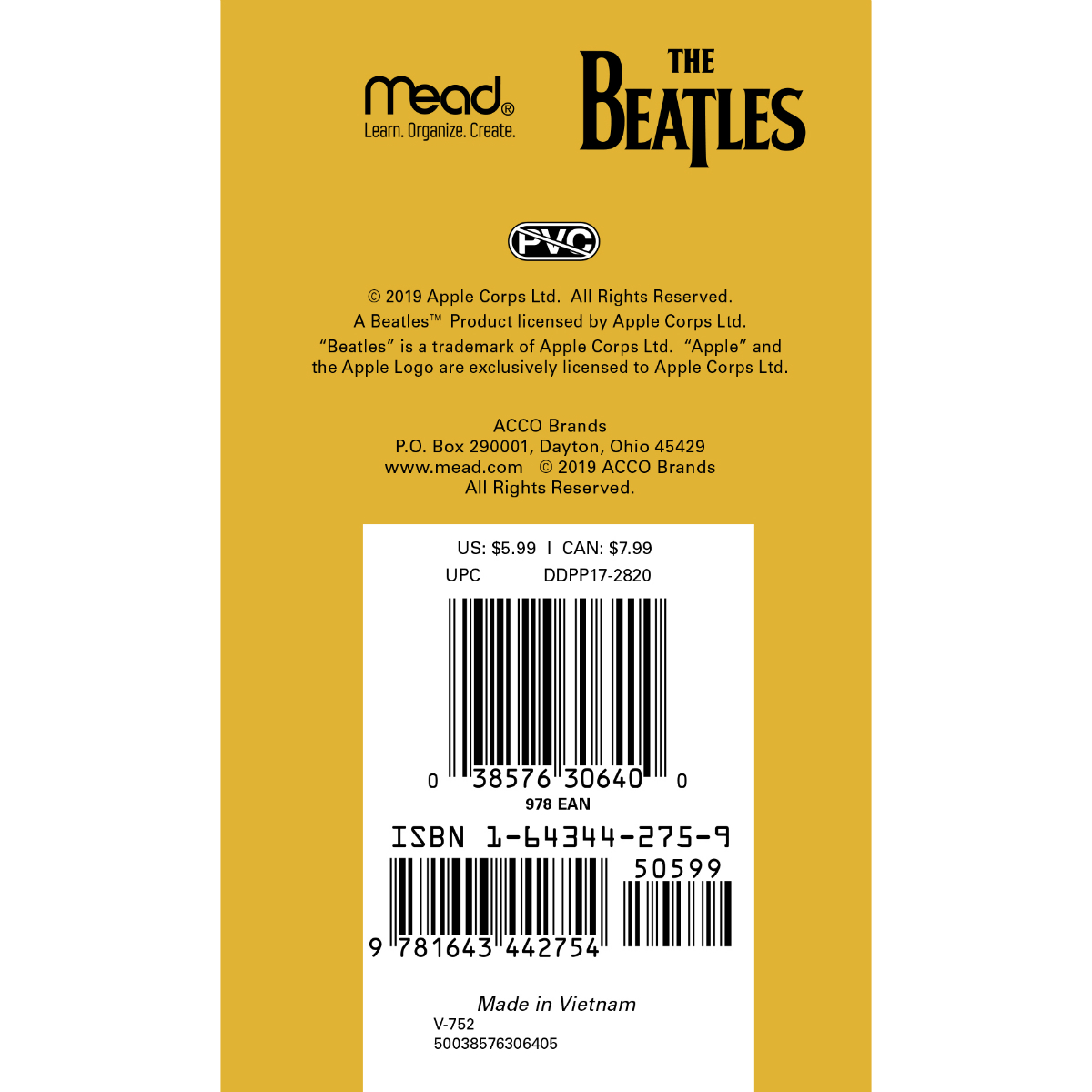 Two Year Beatles 2020/2021 Pocket Planner