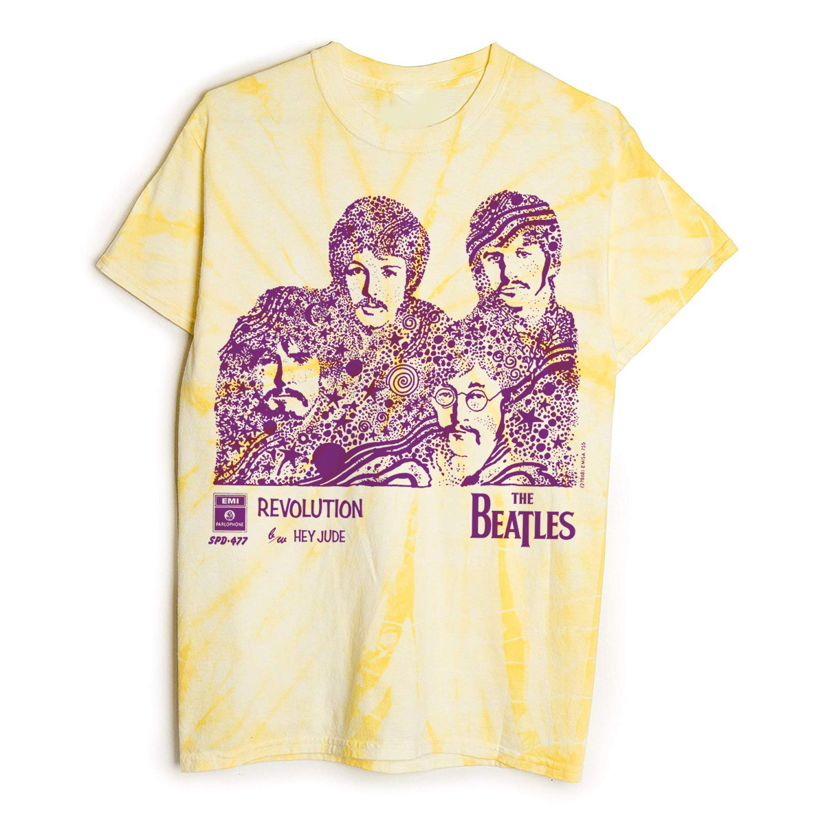 Revolution/Hey Jude Yellow Tie-Die T-Shirt