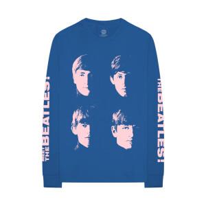 The Beatles Pastel Faces Blue Long-Sleeve T-Shirt