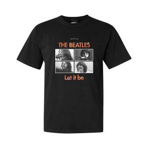 Let It Be Album Cover Floral Fill Black T-Shirt