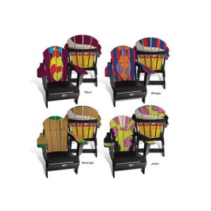 Yellow Submarine, John, Paul, Ringo and George Set of 4 Custom Adult Folding Adirondack Chairs