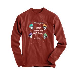 Happy Christmas Beatle People Red Longsleeve