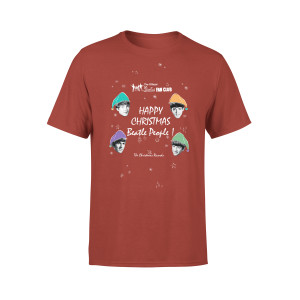 Happy Christmas Beatle People Red T-Shirt