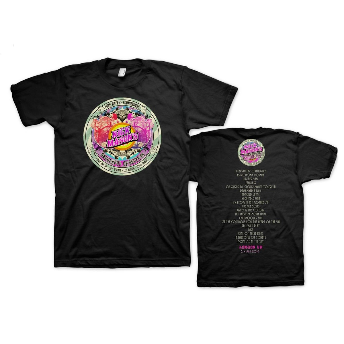 Nick Mason's Saucerful of Secrets Live At The Roundhouse Set List T-shirt