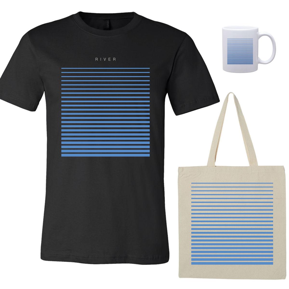 River T-Shirt - Black, Tote, Mug Bundle