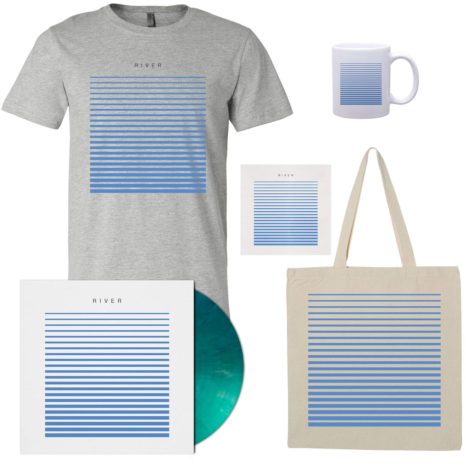 River T-Shirt - Grey, Tote, Mug, Vinyl, and CD Bundle