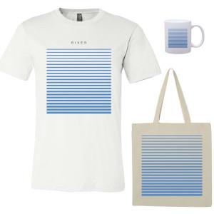 River T-Shirt - White, Tote, Mug Bundle