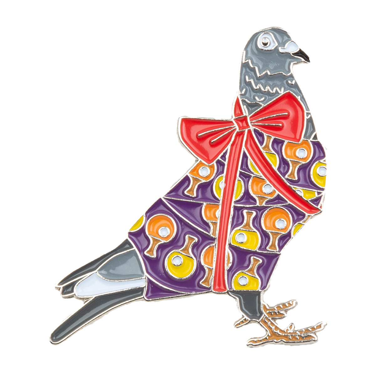 Holiday Pigeon Pin V2 Purple