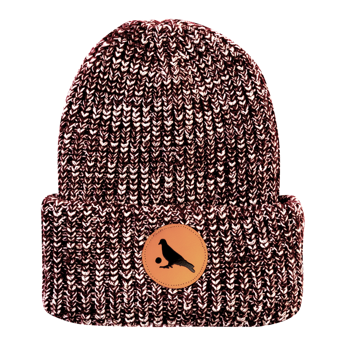 Knit Beanie with Leather Pigeon Ball Patch
