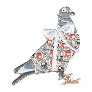 Holiday Pigeon Pin V3 Glitter