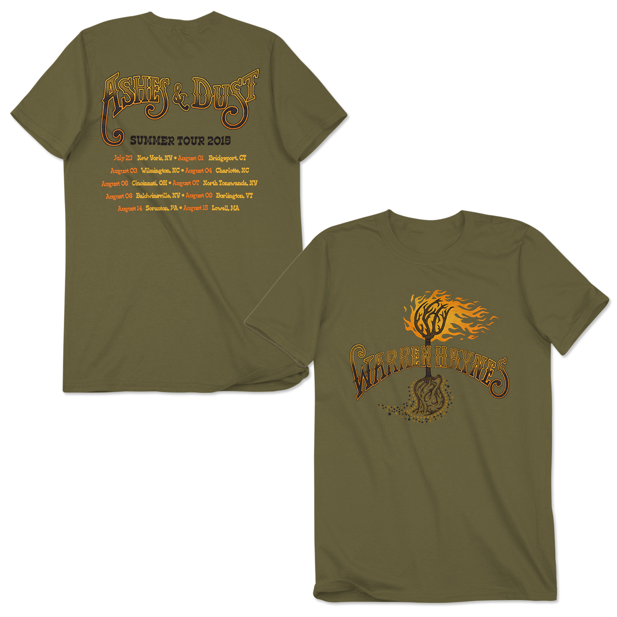 Warren Haynes 2015 Summer Tour Flaming Roots T-Shirt