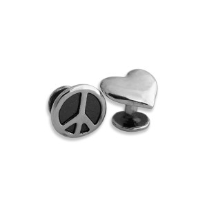 Peace & Love Cufflinks + Peace Sign Pin