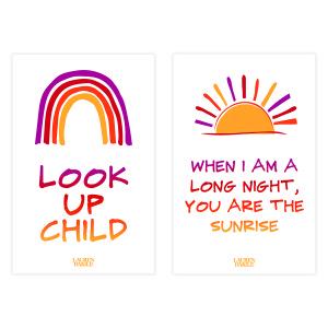 Look Up Child + Long Night Sunrise Lyric Print Set