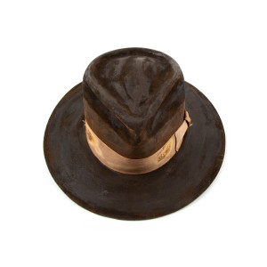 Tan Distressed Signed Hat
