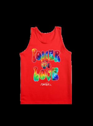 Power to Love Tie-Dye Fill Red Tank