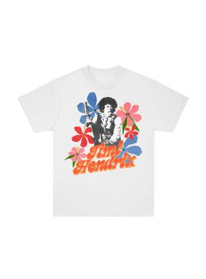Jimi Hendrix 60s-Inspired Flower White T-Shirt