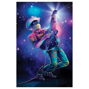 Space Cowboy Blacklight Velvet Poster