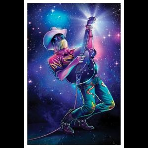 Space Cowboy Blacklight Velvet Poster