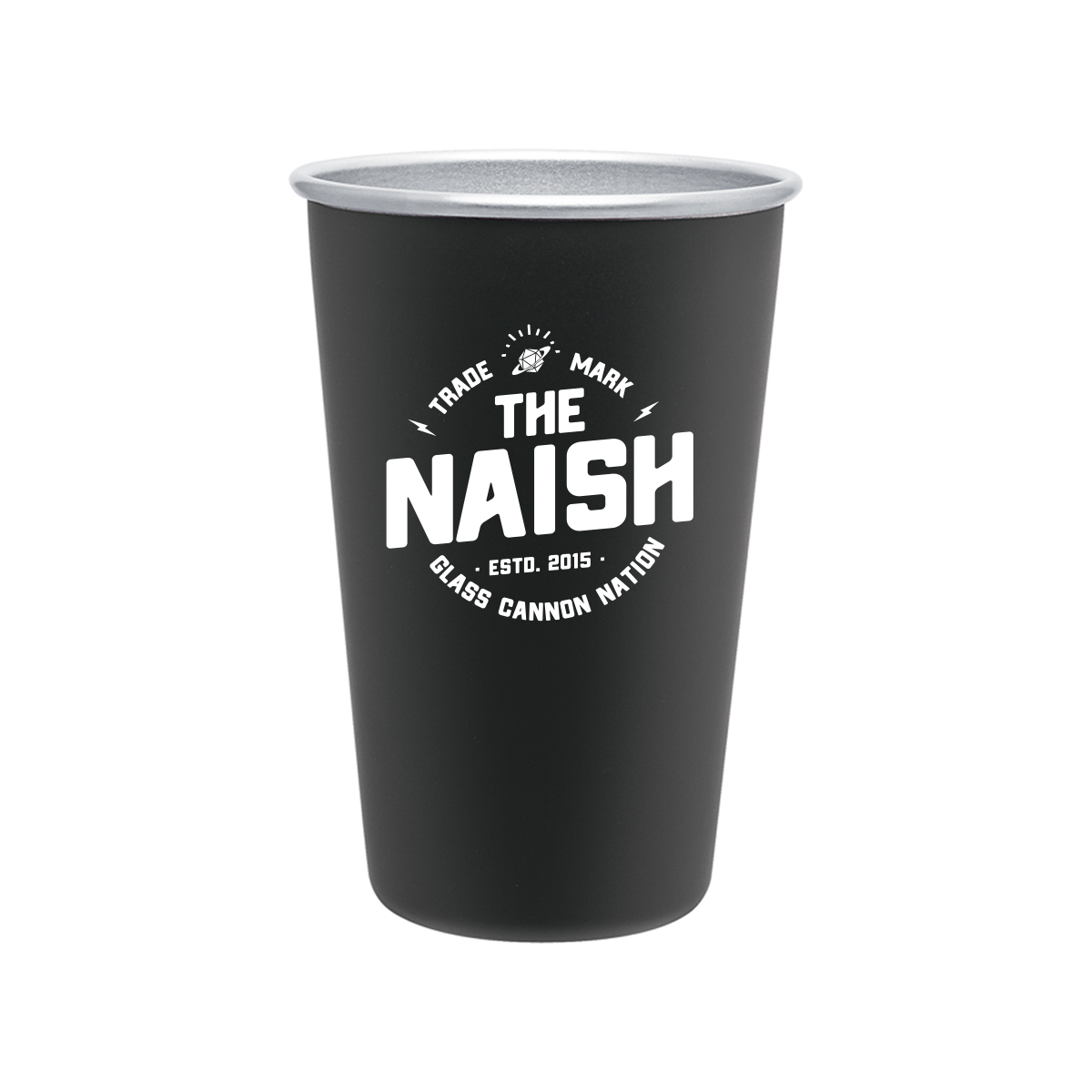 The Naish Stainless Steel 16oz Pint Glass