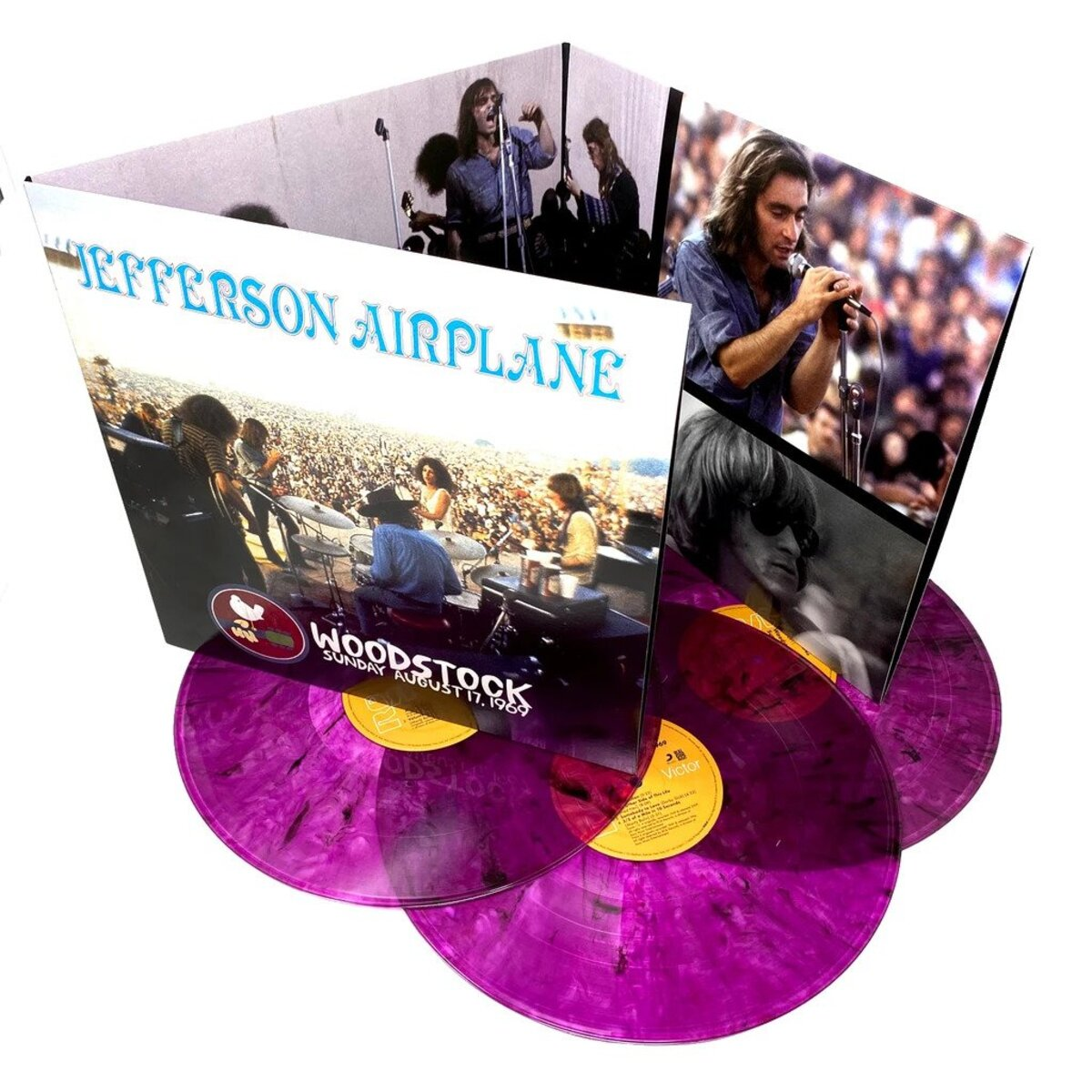 "Jefferson Airplane Woodstock Sunday August 17, 1969 - Limited ""Vibrating"" Violet Vinyl Edition 3-LP Set"