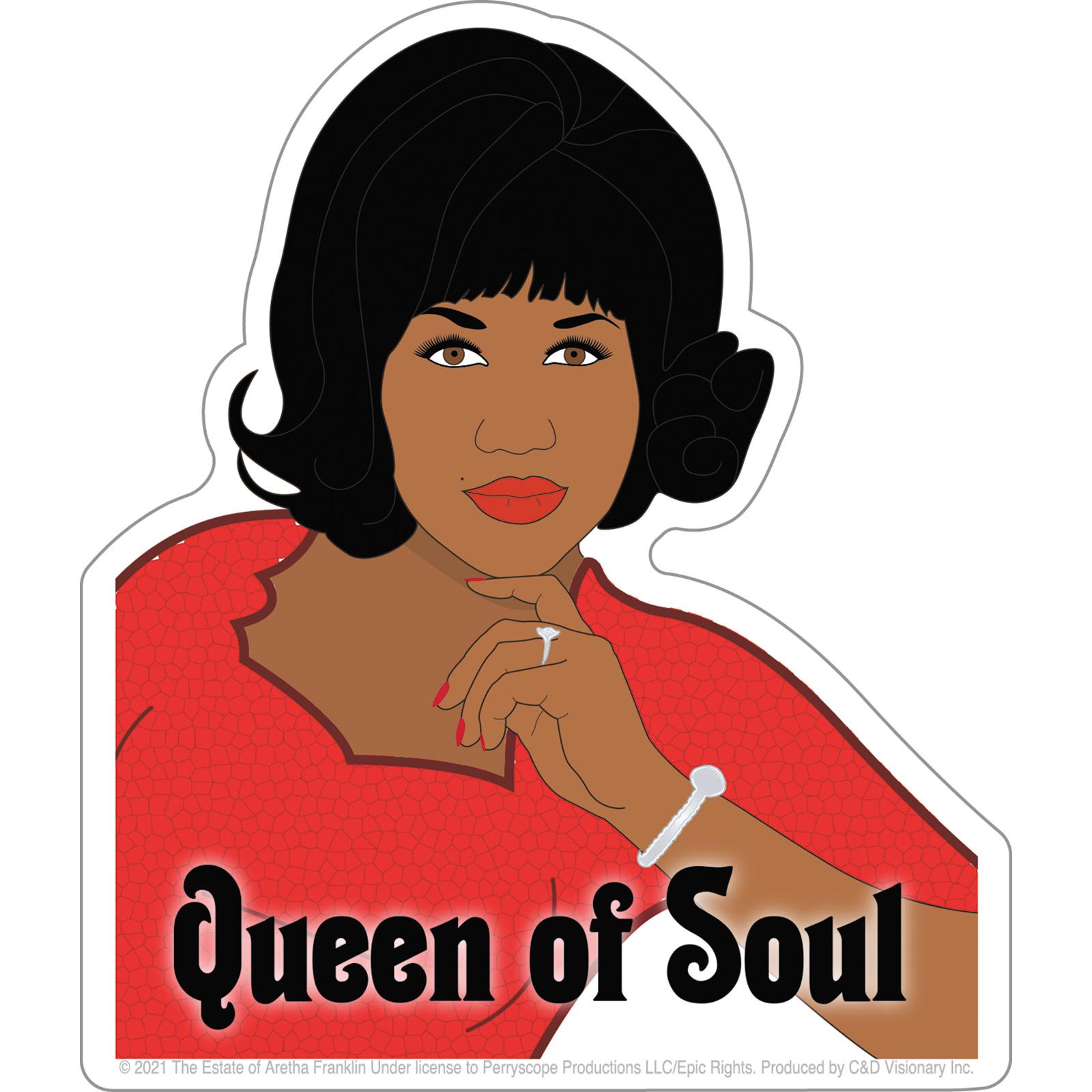 "Aretha Franklin Queen of Soul 4.25""x5"" Sticker"
