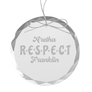 RESPECT Round Laser-Etched Glass Ornament
