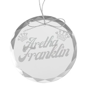 Funky Crowns Round Laser-Etched Glass Ornament