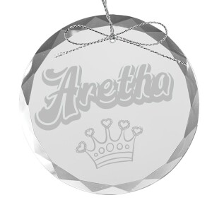 Aretha Crown Round Laser-Etched Glass Ornament